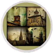 Gothic Churches And Crows Round Beach Towel