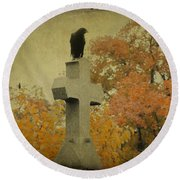 Gothic Fall Crow Round Beach Towel