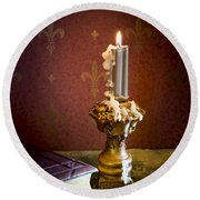 Gothic Scene With Candle And Gilt Edged Books Round Beach Towel
