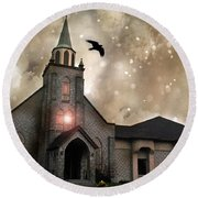 Gothic Surreal Haunted Church And Steeple With Crows And Ravens Flying  Round Beach Towel
