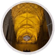 Gothic Vault Of The Seville Cathedral Round Beach Towel