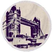Gothic Victorian Tower Bridge - London Round Beach Towel