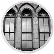Gothic Windows - Black And White Round Beach Towel