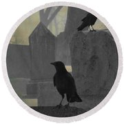 Gothic Winter Blackbirds Round Beach Towel
