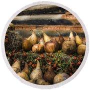Gourds Round Beach Towel by Debra and Dave Vanderlaan