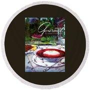 Gourmet Cover Featuring A Bowl Of Borsch Round Beach Towel