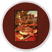 Gourmet Cover Featuring A Pot Of Stew Round Beach Towel