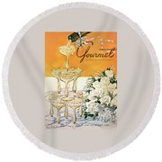 Gourmet Cover Featuring A Pyramid Of Champagne Round Beach Towel