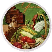 Gourmet Cover Featuring A Variety Of Vegetables Round Beach Towel