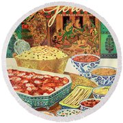 Gourmet Cover Featuring Various Indian Dishes Round Beach Towel