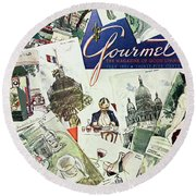Gourmet Cover Illustration Of Drawings Portraying Round Beach Towel