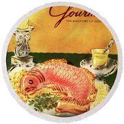 Gourmet Cover Illustration Of Salmon Mousse Round Beach Towel