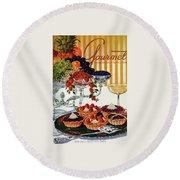 Gourmet Cover Of Fruit Tarts Round Beach Towel