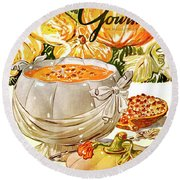Gourmet Cover Of Pumpkin Soup Round Beach Towel