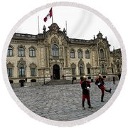 Government Palace Guards In Lima Round Beach Towel