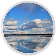 Gr Lake Reflection  Round Beach Towel