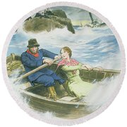 Grace Darling And Her Father Rescuing Round Beach Towel