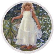 Grace In The Fairy Garden Round Beach Towel