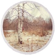 Grace In The Snow. Winter Poems Round Beach Towel