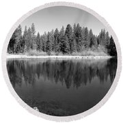 Grace Lake Reflections In Black And White Round Beach Towel