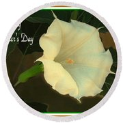 Graceful Moonflower - Happy Mother's Day Round Beach Towel