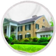 Graceland Mansion Round Beach Towel