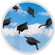 Graduation Mortar Boards Round Beach Towel
