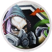 Graffiti Art Curitiba Brazil 18 Round Beach Towel by Bob Christopher