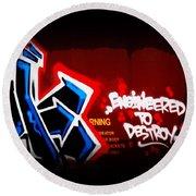 Graffiti - Box Car Art  7097-008 Round Beach Towel