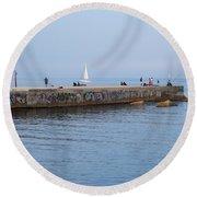 Graffiti Fishing Wall Barcelona Spain Round Beach Towel