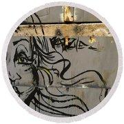 Graffiti Girl Round Beach Towel