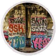Graffiti On The Walls, Tenth Street Round Beach Towel