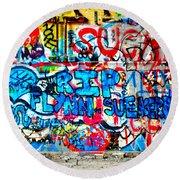 Graffiti Street Round Beach Towel by Bill Cannon