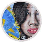 Grafitti Art Calama Chile Round Beach Towel