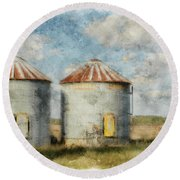 Grain Silos - Digital Paint Round Beach Towel