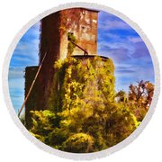 Grain Silos With Digital Painted Effect Round Beach Towel
