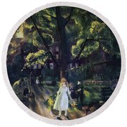 Gramercy Park Round Beach Towel by George Wesley Bellows