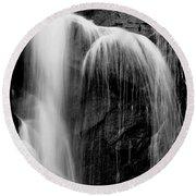 Grampians Waterfall Bw Round Beach Towel