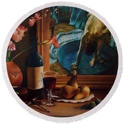 Gran Chateau With Pears Round Beach Towel