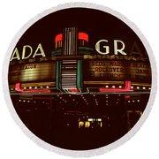 Night Lights Granada Theater Round Beach Towel