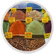 Grand Bazaar Spices In Istanbul Round Beach Towel