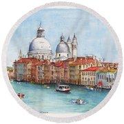 Grand Canal And Santa Maria Della Salute Venice Round Beach Towel