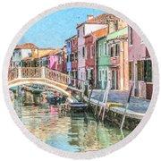 Grand Canal Burano  Venice Round Beach Towel