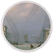 Grand Canal With Snow And Ice Round Beach Towel