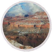 grand Canyon After the Snow Round Beach Towel