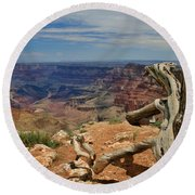 Grand Canyon And Dead Tree 1 Round Beach Towel