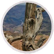 Grand Canyon And Dead Tree 2  Round Beach Towel