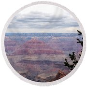 Grand Canyon Awaiting Snowstorm Round Beach Towel