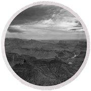 Grand Canyon Black And White Round Beach Towel