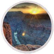 Grand Canyon First Light Round Beach Towel